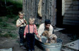 Tommy, Timmy and Ray Redington wash dog in metal bathtub.