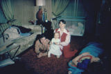 Joe Redington Jr., Heather Redington, and Pam Redington in Joe Redington Sr.'s trailer.