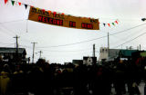 Iditarod Trail Sled Dog Race finish line banner on Front Street in Nome.