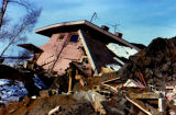 Destroyed home in Turnagain area in Anchorage after the 1964 Good Friday earthquake.