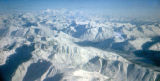 Aerial view of mountains in Alaska.