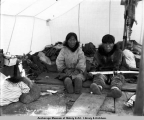 Interior of Eskimo living quarters, Nome, Alaska.