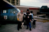 Joe Redington Sr. and Robert Grann with sled dogs in front of the Radisson hotel in Duluth,...