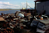 Fish boxes at fish plant in Unalakleet.