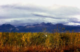 View of mountains during autumn.