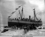 S.S. Corwin landing freight on the ice, June 2, 1907, 4 miles from shore, Nome, Alaska.