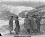 President and Mrs. Harding and Governor Bone of Alaska at the Mendenhall Glacier, Juneau (Times...