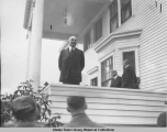 President Harding speaking from Governor Bone's mansion, Juneau, Alaska.