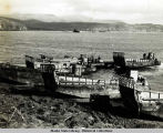 Disabled landing craft, Kiska Harbor, Aug-Sept 1943.