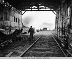 Submarine-beaching railway on Kiska Island, August 1943.