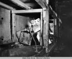 Disarmed booby trap in bunk room on Kiska Island, August 1943.