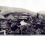 Destroyed Japanese aircraft hanger, Kiska Harbor, August 1943.