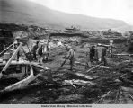 U.S. Army bulldozer cleans up on Kiska Island, August 1943.