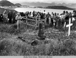 Memorial services at gravesite in Unalaska, August 4, 1990.