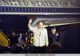 President Ford waves to crowd at Eielson AFB, Alaska, 1975.