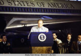 President Ford addressing crowd at Eielson AFB in Alaska, 1975.