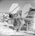 Mekoryuk, Nunivak Island, unique method of stretching seal skins to dry, 3/1942.