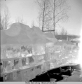 Ice blocks form teacher's water supply, Rampart, Alaska, 3/1942.