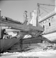 Eskimos chop frames of old ships for firewood, St. Michael, Alaska,  3/1942.