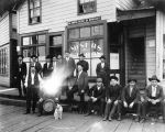 Men in front of Miners' Saloon, Douglas, Alaska, 1908.