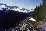 Klondike Highway at sub-grade elevation, during construction, May 1977.