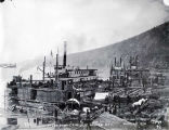 Steamboat landing at Dawson City, 1898.