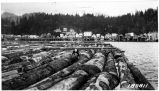 Rafts of Sitka spruce for Ketchikan sawmill, August 1924.