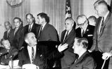 President Lyndon Johnson with state governors at White House, October 1, 1966.