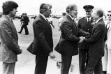Governor Hammond greets President Jimmy Carter at Elmendorf Air Force Base, July 1980.