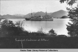 U.S. Navy Transport Henderson at anchor in Sitka harbor.