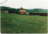 Holy Trinity Chapel and stockade at Fort Ross, California.