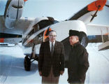 Shell Simmons, FAA engineer Bob Stevens, and airplane.