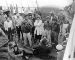 A little music by impromptu orchestra, down in steerage, 1947.