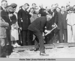 President Harding driving in golden spike that completed the Alaska Railroad; Nenana, July 15,...