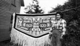 Yakutat 1952, McClellan Photo.  Sam George's Chilkat blanket and Mrs. Selma Smith – Mrs. Annie...