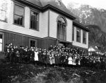 School children in front of Juneau Public School, ca. 1910.