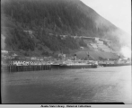 S. S. MOUNT MCKINLEY approaching Alaska Steamship Co. wharf in Juneau, ca. 1940.