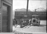 Chevrolet automobile on approach to the Pacific Steamship Co. wharf, Juneau, ca. 1919.