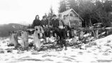 Fish Creek School, teacher, and students, 1937.