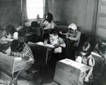 Students at their desks, Gulkana Territorial School, 1949.