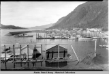 Juneau; Harris boat harbor, looking up Gastineau Channel, ca. 1943.