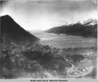 Juneau, Douglas, and Gastineau Channel from the side of Mt. Juneau, ca. 1910.