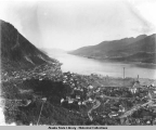 Juneau, Douglas, and Gastineau Channel from the side of Mt. Juneau, ca. 1920.