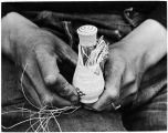 Weaving Attu bottle basket with lid, 1941.