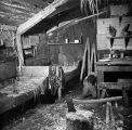 Aleutian dwelling, interior view, 1941.