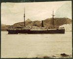 Steamer ANCON, anchored near glacier.