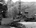 Army personnel construct bridge, Eklutna River, July 7, 1961.