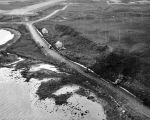 Aerial photo showing area of explosions along Zeto Point Road, July 17, 1945