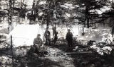 Gold seekers resting in camp on trail to the Yukon, 1898.