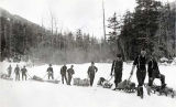 Yukoners on the trail in Pleasant Valley, 1898.